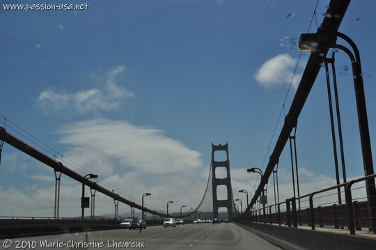 San Francisco, crossing the Golden Gate Bridge