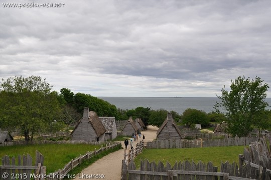 Plimoth Plantation, the English village seen from the fort