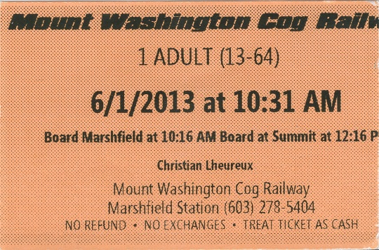 Mount Washington rog railway ticket