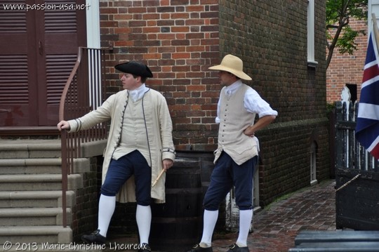 Colonial Williamsburg, actors showed up, but the parade is cancelled due to the rain