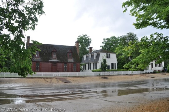 Colonial Williamsburg, houses under the rain