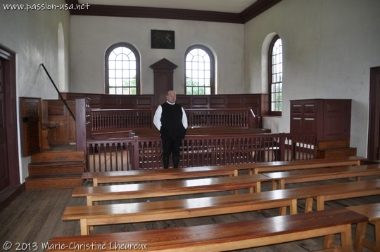 Colonial Williamsburg, the judge inside the Justice of Peace courtroom