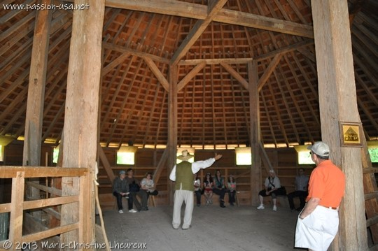 Mount Vernon, inside the 16-sided Dogue Run barn