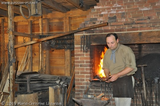 Mount Vernon, the blacksmith at work in his shop