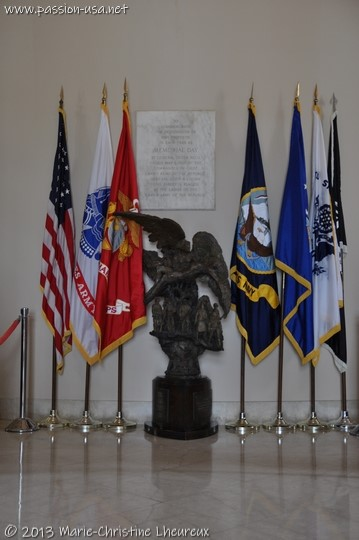 Arlington National Cemetery, Armed Forces flags and Memorial Day plaque
