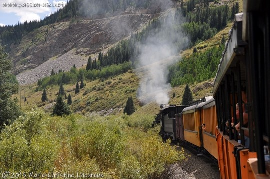 Leaving Silverton with the steam train