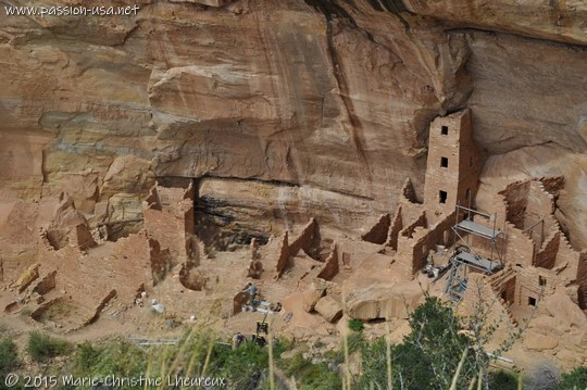 Square Tower House, ruins being restored, Mesa Verde National Park