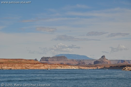 Eastern shore of Lake Powell, Navajo Mountain in the background