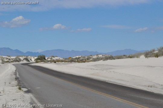 The paved section of Dunes Drive, White Sands National Monument
